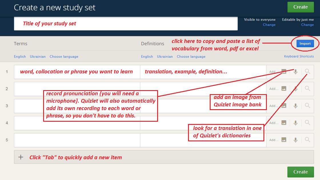 How to create a study set on Quizlet